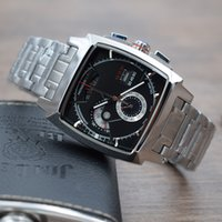 Wholesale Men Classic Square Watches - New classic men luxury T a g Wrist Watch quartz movement Multi-function Chronograph stopwatch High quality square stainless steel MONACO LS