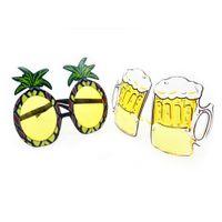 festa de óculos de sol amarela venda por atacado-New Hawaiian Praia Abacaxi Óculos De Sol Amarelo Vidros De Cerveja HEN PARTY FANCY VESTIDO Óculos Engraçados Presente de Halloween Da Moda favor
