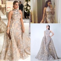 Wholesale Trumpet Crystal Prom Dress - Sequined Appliques Mermaid Overskirt Evening Dresses 2018 Yousef Aljasmi Dubai Arabic High Neck Plus Size Occasion Prom Party Dress
