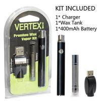 ecigs starter achat en gros de-Préchauffage Vertex Premium Cire Vape Pen 400mAh Starter Kit 4.0v-3.3v-2.6v Tension Variable Préchauffer Batterie Blister Paquet Vaporisateur eCigs