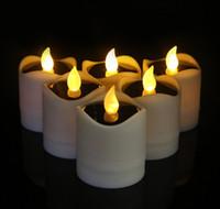 ingrosso candele elettroniche tremolanti-LED Solar Candle Flicker LED Lights Solar Power Candele senza fiamma Electronic Nightlight Candle Christmas San Valentino Decorazione