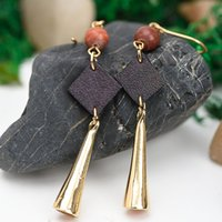 Wholesale Leather Earrings Wholesale - Handicraft Wind Chime Pendant Long European and American Retro Leather Earrings Wholesale Spot Fashion Temperament Jewelry Women