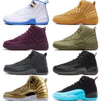 zapatos de baloncesto de color canela al por mayor-12 12s zapatos de baloncesto para hombre Michigan Bulls College Navy Vachetta Tan Gris oscuro Burdeos French Blue men Deportivos zapatillas de deporte diseñador