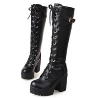 Wholesale western cowboy tie - Autumn and winter new high heel Knights boots tied boots Martin women boots