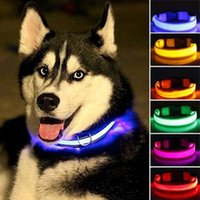 Wholesale led glow dog collar online - Colors Nylon LED Pet Dog Collar Night Safety Glow In The Dark Dog Leash Lead Tools Training Collars Dog Pet Supplies