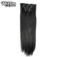 falsches haar braun großhandel-Rockstar 16 Farben lang Straight 16 Clips in Kunsthaarverlängerung Schwarz Braun 5Clips in False Haarteile
