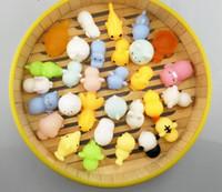 ücretsiz köpekbalığı oyuncakları toptan satış-Ücretsiz Gemi 60 adet / 2 Takım Squishy Hayvanlar Set Kedi Köpekbalığı Antistres Kawaii Civciv Squishes Anti stres Sıkmak Yavaş Yükselen Squishies Komik Oyuncaklar
