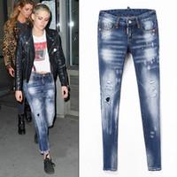 jeans diseñados cool al por mayor-Pantalones de mezclilla Mujer Pintura salpicado Vaqueros pitillo pre-dañados Chica guapa en forma EE. UU. Europa Italia Estilo Diseño