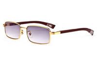 sonnenbrille unisex lila groihandel-2018 Marke Designer Unisex Schwarz lila gold Holz Full Frame Büffelhorn Glas für Männer Frauen Echte Sonnenbrille mit roten Box
