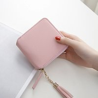 easy coins 2018 - Tassel Pandent Women Easy Wallet Square Handbag Zipper Short Purse Small Coin Purse Mini Money Bag