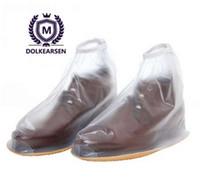 botas de lluvia transparentes mujeres al por mayor-Zapatos reutilizables para lluvia Cubiertas impermeables All Seasons antideslizantes ajustables con cremallera Botas de lluvia para mujer zapatos de hombre transparente D889