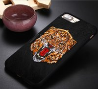 Wholesale 3d Case Tiger - For Samsung S9 Plus Embroidery 3D Tiger soft TPU PC case Shockproof Back cover case For iPhone X 8 7 6s Plus Retail package