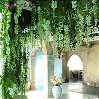 ingrosso piante di edera falsa-JOY-ENLIFE 10 pz / lotto 90 cm Edera Artificiale Foglie Fiore Vite Home Decor Partito Decorazione di Cerimonia Nuziale Mariage Finto Piante Artificiali