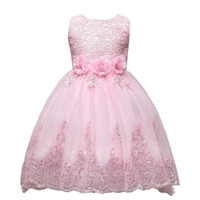 Wholesale lace tulle dress infant online - Cute Pink Lace Little Kids Infants Flower Girl Dresses Princess Jewel Neck Tulle Applique Floral Short Formal Wears for Weddings MC0280