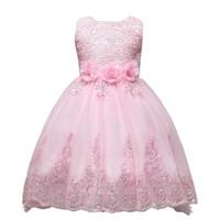 säuglingsmädchen tüll kleider großhandel-Nette rosa Spitze-kleine Kind-Kind-Blumenmädchen-Kleider Prinzessin Jewel Neck Tulle Applique Floral Short Formal Wears für Hochzeiten MC0280