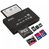 lectores de tarjetas xd al por mayor-Lector de tarjetas de memoria todo en uno de alta calidad USB externo SD SDHC Mini Micro M2 MMC XD CF negro blanco DHL gratis