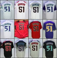 Hombres de la vendimia Arizona 51 Randy Johnson Baseball Jerseys 2017 Nueva cosida Cool Base blanco rojo gris púrpura Throwback Jersey envío gratis