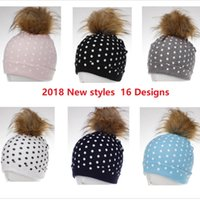 Wholesale cream baby pink resale online - 2018 INS Winter Baby hats Sweet Dots Beanies Kids caps with big fur pompom Faux fox fur raccoon dog fur Removable designs Hotsale