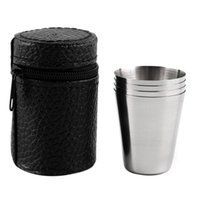 Wholesale Steel Camp Mug - 4 PC 30ML 70ML 180ML Stainless Steel Camping Cup Mug Outdoor Camping Hiking Folding Portable Tea Coffee Beer Cup With Black Bag