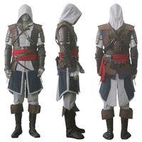 assassins creed cosplay schwarz großhandel-Assassins Creed IV 4 Black Flag Edward Kenway Cosplay Kostüm ganzer Satz nach Maß Expressversand