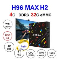 Wholesale Gpu Wholesale - Newest H96 Max H2 Android TV Box 4G 32G Android 7.1 WIFI 2.4G 5G USB 3.0 Mali-450 GPU 4K box WiFi Bluetooth 4.0 Android Box Media player