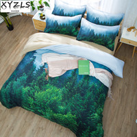 beds doubles Canada - XYZLS Green Forest US AU UK Queen Bedding Set Beauty Simple Bedclothes Green Plant Home Twin Full King Double Adults Bedding Kit