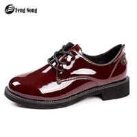 lindas botas de encaje al por mayor-Fengnong Simple Women Boots Lace Up Cute Simple Hebilla Smart Shoes Girl's Smooth Pu Cuero Primavera Otoño Botas WBT124