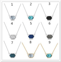 Wholesale hexagon plate - 2018 fashion Necklace Silver Plated Scott Resin Crystal Geometry Hexagon Pendant Necklace Party Wedding Jewelry Gift