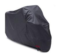 siyah motosiklet örtüsü toptan satış-180 T Su Geçirmez Motosiklet Kapak Siyah Gümüş Motor Dikiş Güneş Kremi Toz Önleme Çok Renkli OEM LOGO XL XXL XXXL Polyester Taf ...