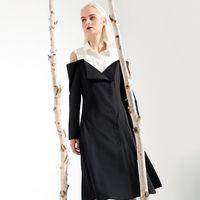 f5835de83a4 Elegant Off Shoulder Dresses For Women High Waist Long Sleeve Patchwork  Midi Dress Female Autumn Fashion Clothes