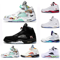 frische weiße schuhe großhandel-2018 Fresh Prince 5 wings 5s PSG Black men Basketballschuhe PARIS Laney oreo silber OG Weiß Grape Space Jam Herren Jumpman Sneakers
