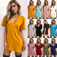 Wholesale black striped long sleeve shirt - 11 Color Sexy Women Clothes New Fashion T Shirt Solid V-Neck T Shirt Summer Casual Short Sleeve Long Top Tee