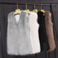 Wholesale Faux Fur Vest Jacket - Faroonee Faux Hairy Fur Waistcoat Vest Women Slim Short Faux Fur Jackets Coat Winter Sleeveless Casual Hairy Outwear White Black