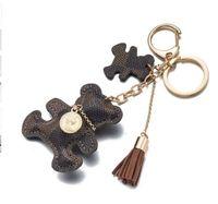 Wholesale Bear Bag - 2018 New fashion!Key Chain Accessories Tassel Key Ring PU Leather Bear Pattern Car Keychain Jewelry Bag Charm