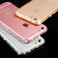 Wholesale Iphone Diamond Gel Case - Luxury Bling Diamond Frame Clear Transparent Soft TPU Gel Case for Samsung Galaxy S7 S6 Edge S8 S9 Plus iPhone X 8 7 6 6S 5 SE