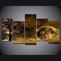 pintura em spray cinza venda por atacado-5 Pçs / set Árvore Da Noite Da Terra Celestial Cartaz Impresso Fotos Da Arte Da Parede Da Lona Pinturas Para Sala de estar Decoração de Casa