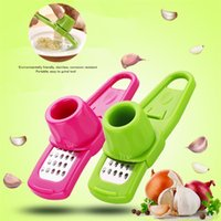 Wholesale mini slicer cutter resale online - Candy Color Garlic Press Multi functional Grinding Garlic Mini Ginger Grinding Grater Planer Slicer Cutter Kitchen Tools T1I318