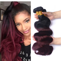 Wholesale Dark Red Human Hair Extensions - Ombre 1B 99J Body Wave Colored Hair 3 Bundles Brazilian Ombre Dark Wine Red Human Hair Weave Bundles Hair Extension 12-26 Inch