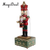 xmas süsler kutuları toptan satış-Karıştırma 2 Parça 32 cm Ahşap El Boyalı Noel Fındıkkıran Müzik Kutusu Oyuncak Noel Dekor Süs-Asker Davulcu