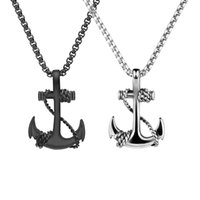 ingrosso miglior corpo mensile-Rock Punk Mens Black Cross Anchor Collana Titanium Steel Men Collana a catena Best Friend Navy Style Hip Hop Body Donna