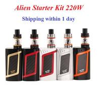 Wholesale Vw Fast - Alien Kit 220W E-cigarette Starter Kits High Wattage with 3ml TFV8 Baby tank VW TC Function 220W Alien Starter Kit shipping fast DHL