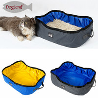 Wholesale cat litter resale online - Foldable Oxford Cat Litter Box Open Convenient Bedpan Animal Pet Dog Receptacle Outdoor Loo Toilet Equipment AAA747