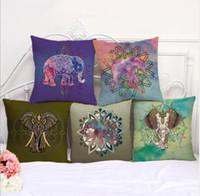 Wholesale elephant patterns for sale - 6 design Elephant Print pillow case Linen Cotton Cushion Cover Pillowcase Sofa Chair Decor Elephant Printing Cushion Cover KKA5864