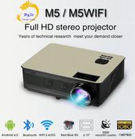 wifi sound großhandel-Großhandels-M5-Reihe LCD LED voller HD 1080P Projektor 5500 Lumen Unterstützung HDMI VGA USB Android 6.0 WiFi Bluetooth Eingebauter HIFI-Sound-Proyector