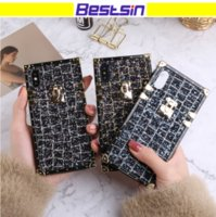 Wholesale soft plastic material - New Fasion Lovely Golden Locker Luxury Bling Phone Case Lady Design Soft Material For Iphone X i6p Free DHL Shipping