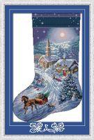 santa malereien groihandel-Weihnachtsstrumpf Weihnachtsmann Wohnkultur Gemälde, Handmade Cross Stitch Stickerei Hand Sets gezählt Druck auf Leinwand DMC 14CT / 11CT