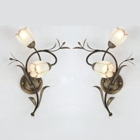 Wholesale Mediterranean Bedside Lamps - Mediterranean iron Wall lamp hotel room lights living room dining room wall light bedroom bedside lamp stair aisle glass wall lamp