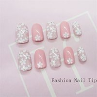 Discount flower pressing - Press on Pink Flower False Nail with Designs Glitter Full Cover Fake Nails Super Comfort ABS Faux Ongles Nail Art