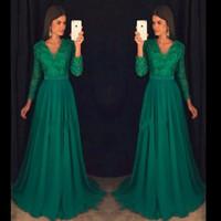 Wholesale Emerald Party Dresses - Emerald Elegant Abendkleider long sleeve Prom Dress Party Vestido De Festa Longo Vintage Chiffon beaded modest evening formal gowns wear