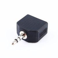 divisor de auriculares para auriculares y cable al por mayor-Color negro 3.5mm Jack 1 a 2 Doble Auricular Auricular Y Splitter Cable Adaptador Adaptador para el teléfono MP3 Envío Gratis